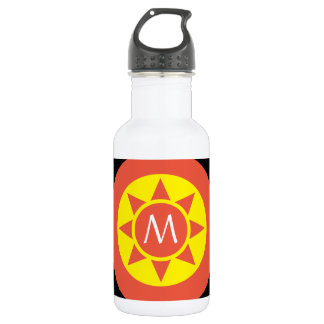 Cute Yellow & Orange Sun Shine Initialed Monogram 532 Ml Water Bottle