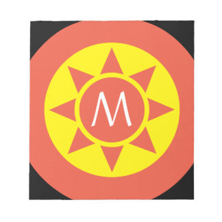 Cute Yellow & Orange Sun Shine Initialed Monogram Notepad