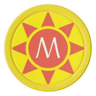 Cute Yellow & Orange Sun Shine Initialed Monogram Poker Chips