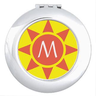 Cute Yellow & Orange Sun Shine Initialed Monogram Vanity Mirror