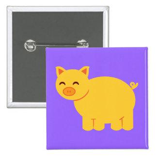 Cute Yellow Piggy 2 Inch Square Button