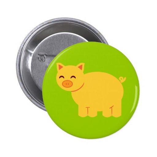 Cute Yellow Piggy Pinback Buttons