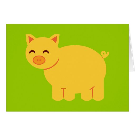 Cute Yellow Piggy Greeting Card