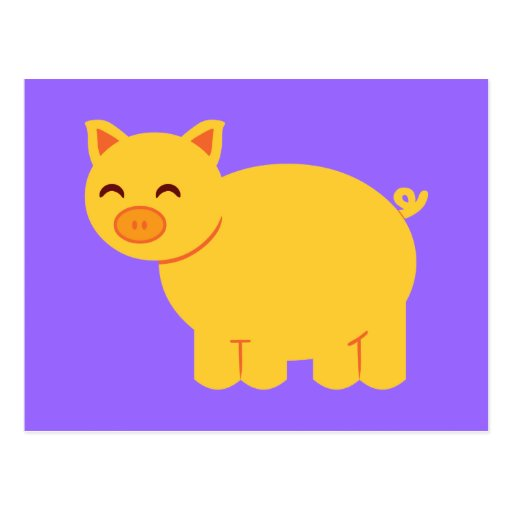 Cute Yellow Piggy Postcards