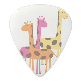 Cute Yellow, Pink and Orange Giraffes Acetal Guitar Pick