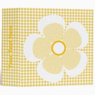 Cute Yellow Plaid Flower On Polka Dot Binders. Binder