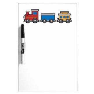 Cute yellow red blue toy train custom dry erase board