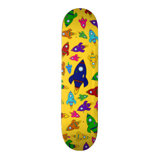 Cute yellow rocket ships pattern custom skate board