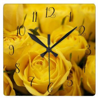 Cute Yellow Roses Wall Clock