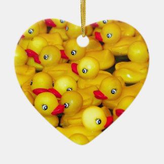 Cute yellow rubber duckies ceramic heart ornament