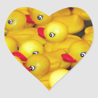 Cute yellow rubber duckies heart sticker