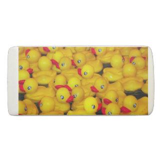 Cute yellow rubber duckies pattern eraser