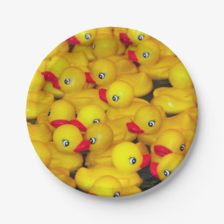 Cute yellow rubber duckies pattern paper plate