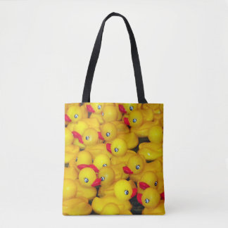 Cute yellow rubber duckies pattern tote bag