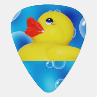 Cute Yellow Rubber Ducks Floating in Bubbles Guitar Pick