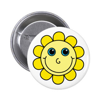 Cute Yellow Smiley Face Flower 2 Inch Round Button