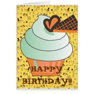 Cute Yellow Sprinkles  I love cake kawaii cupcake Card