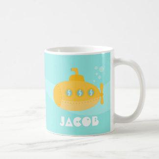 Cute Yellow Submarine, Underwater, For Kids Basic White Mug