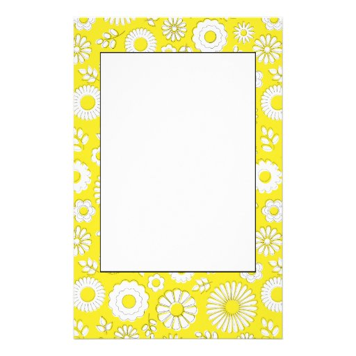 Cute yellow summer flowers personalized stationery