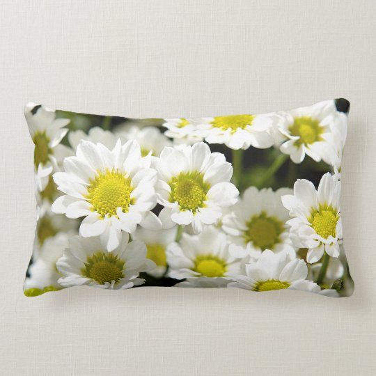 Cute Yellow White Summer Daisy Flowers Blossom Lumbar Pillow
