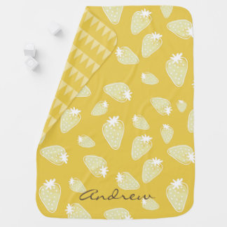 CUTE YELLOW WHITE WATERCOLOR STRAWBERRIES MONOGRAM BABY BLANKETS