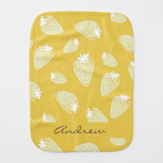 CUTE YELLOW WHITE WATERCOLOR STRAWBERRIES MONOGRAM BURP CLOTHS