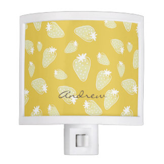 CUTE YELLOW WHITE WATERCOLOR STRAWBERRIES MONOGRAM NIGHT LITES