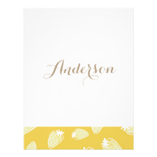 CUTE YELLOW WHITE WATERCOLOR STRAWBERRIES MONOGRAM PERSONALIZED LETTERHEAD