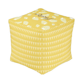 CUTE YELLOW WHITE WATERCOLOR STRAWBERRIES MONOGRAM POUF