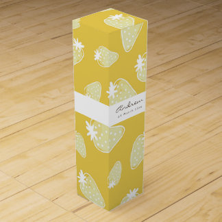 CUTE YELLOW WHITE WATERCOLOR STRAWBERRIES MONOGRAM WINE GIFT BOX