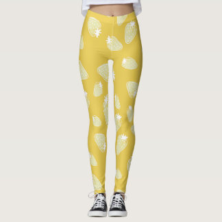 CUTE YELLOW WHITE WATERCOLOUR STRAWBERRIES LEGGINGS