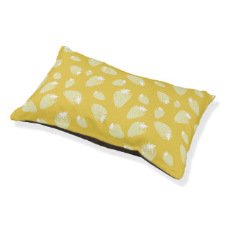 CUTE YELLOW WHITE WATERCOLOUR STRAWBERRIES PET BED
