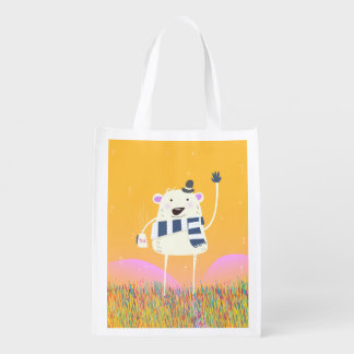 Cute Yeti With a nice hot mug of Tea Reusable Grocery Bag