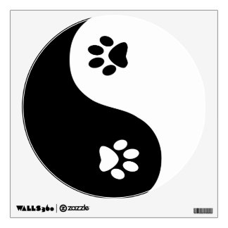 Cute Yin Yang Paws Wall Decal