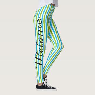 Cute Yoga Blue and Green Stripe Pattern Leggings
