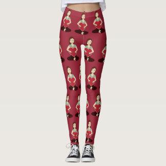Cute Yoga Girl holding Red heart pattern Leggings