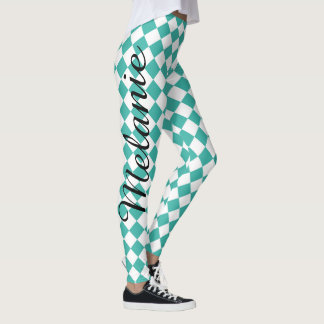 Cute Yoga Teal and White Diamond Pattern Leggings