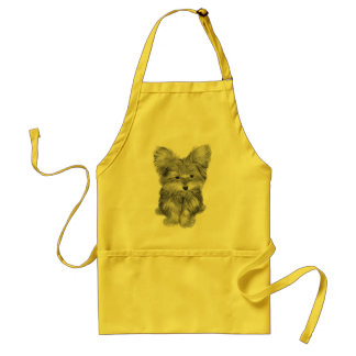 Cute Yorkie Dog Art Apron