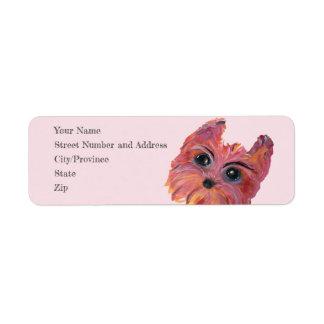 Cute Yorkie Pop Art Painting in Pink and Orange