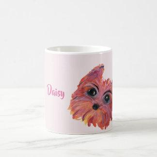 Cute Yorkie Pop Art Painting in Pink and Orange Coffee Mug
