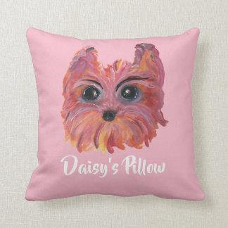 Cute Yorkie Pop Art Painting in Pink and Orange Throw Pillow