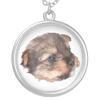 Cute Yorkshire Face Silver Plated Necklace