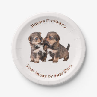 Cute Yorkshire Puppies 7 Inch Paper Plate