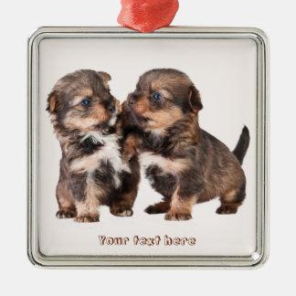 Cute Yorkshire Puppies Metal Ornament