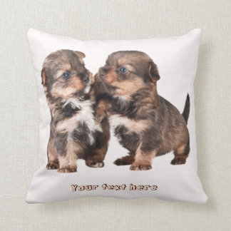 Cute Yorkshire Puppies Throw Pillow