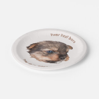 Cute Yorkshire Puppy Face 7 Inch Paper Plate