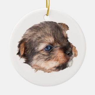 Cute Yorkshire Puppy Face Ceramic Ornament