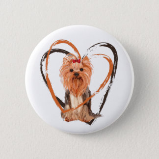 Cute Yorkshire Terrier 2 Inch Round Button