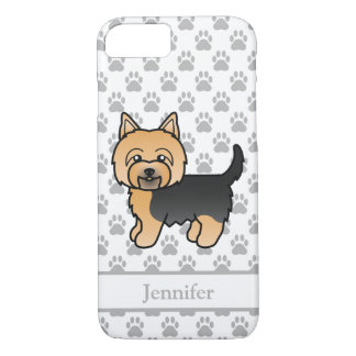 Cute Yorkshire Terrier Cartoon Dog And Custom Name iPhone 8/7 Case