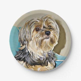 Cute yorkshire terrier digital art paper plate